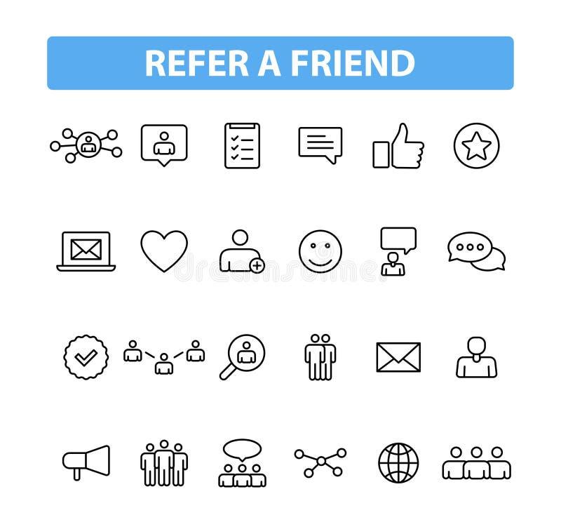 Metta di 24 fanno riferimento le icone di un web dell'amico nella linea stile Il programma di rinvio, vendita, invita gli amici I royalty illustrazione gratis