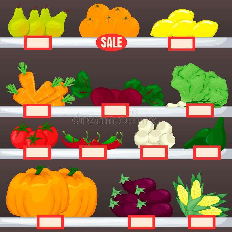 Metta di frutta e delle verdure sugli scaffali del supermercato Prodotto vettoriale del fumetto royalty illustrazione gratis