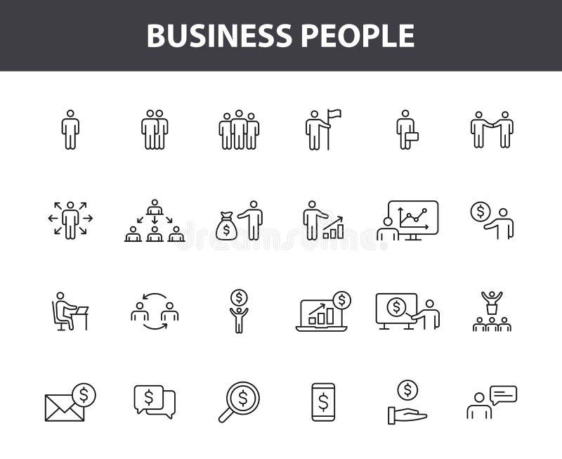 Metta di 24 genti di affari e delle icone di web di lavoro di squadra nella linea stile Affare, lavoro di squadra, direzione, res royalty illustrazione gratis