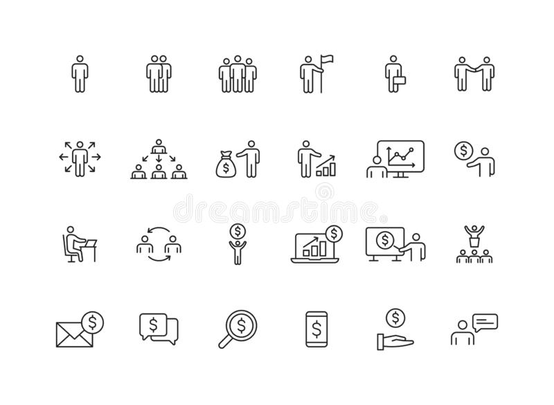 Metta di 24 genti di affari e delle icone di web di lavoro di squadra nella linea stile Affare, lavoro di squadra, direzione, res illustrazione di stock