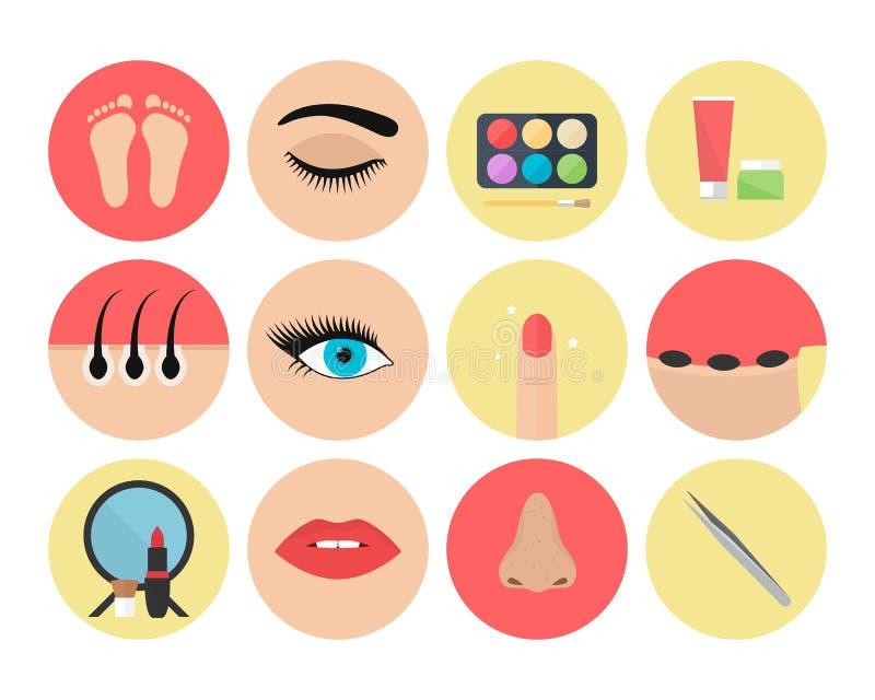 Metta di 12 icone dell'estetista immagini stock libere da diritti