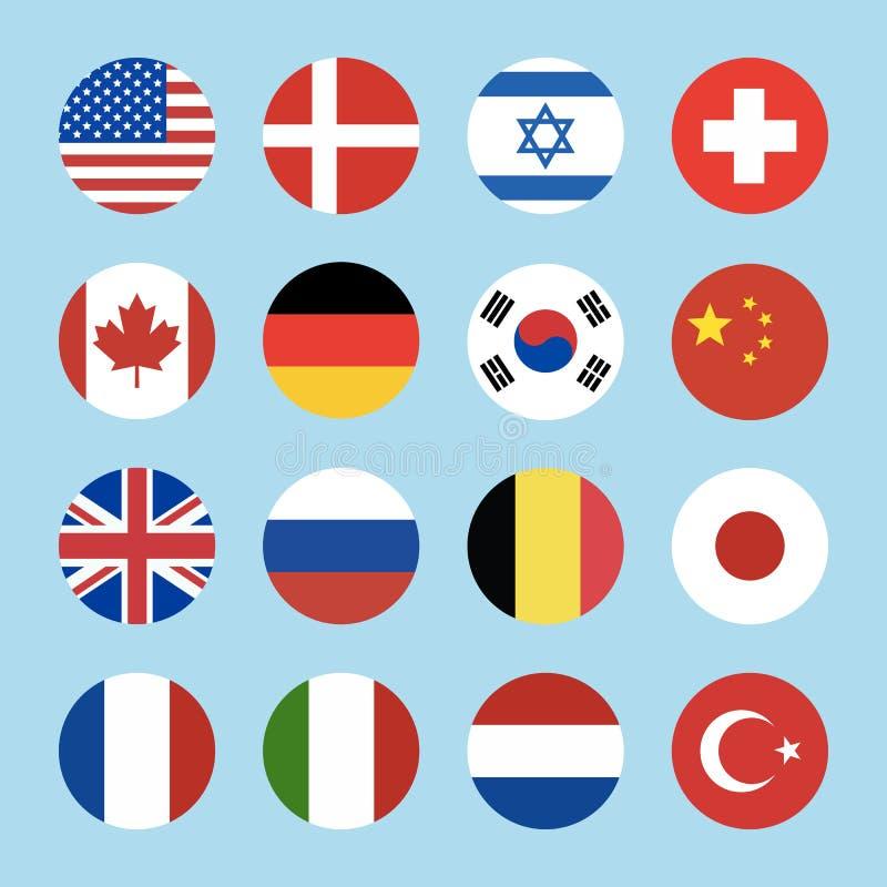 Metta di 16 icone delle bandiere del mondo del cerchio isolate su fondo blu illustrazione vettoriale