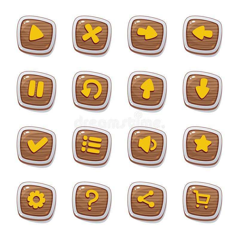 Metta di 25 icone di legno rotonde nei telai isolati su fondo bianco per l'interfaccia utente del gioco Modello mobile i degli el illustrazione vettoriale