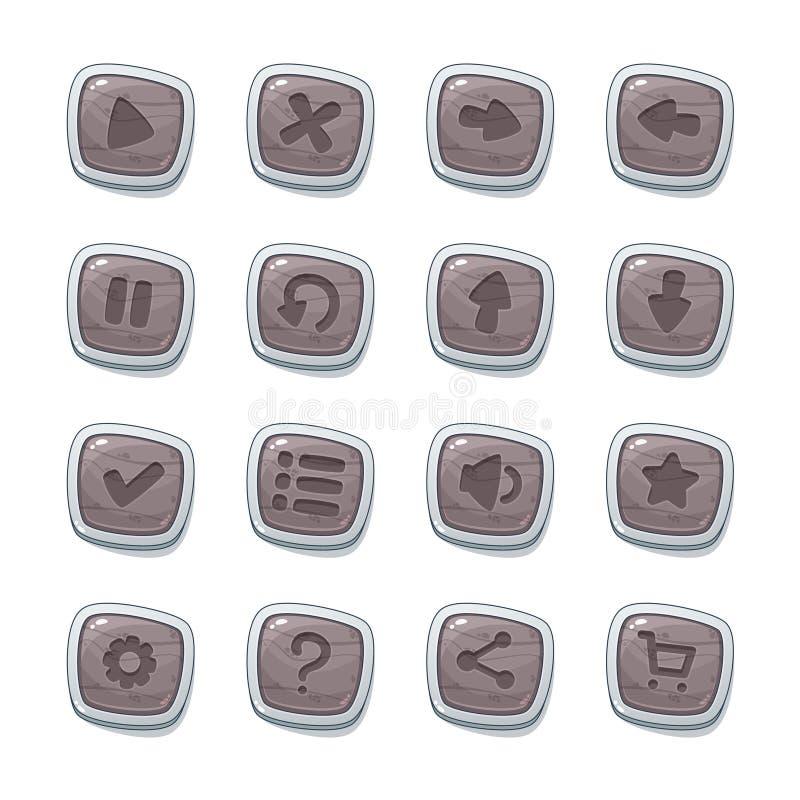 Metta di 16 icone di pietra nei telai bianchi isolati su fondo bianco per l'interfaccia utente del gioco Modello mobile degli ele royalty illustrazione gratis