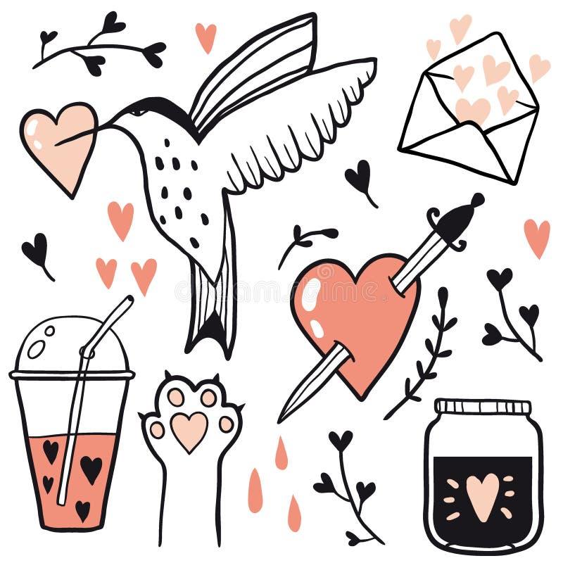 Metta di illustrazioni al tratto di amore royalty illustrazione gratis