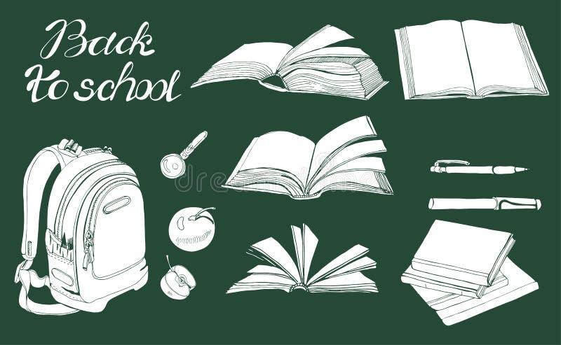 Metta di inchiostro disegnato a mano e dello schizzo invertito con i libri, gli elementi della scuola e l'iscrizione Elementi bia illustrazione di stock
