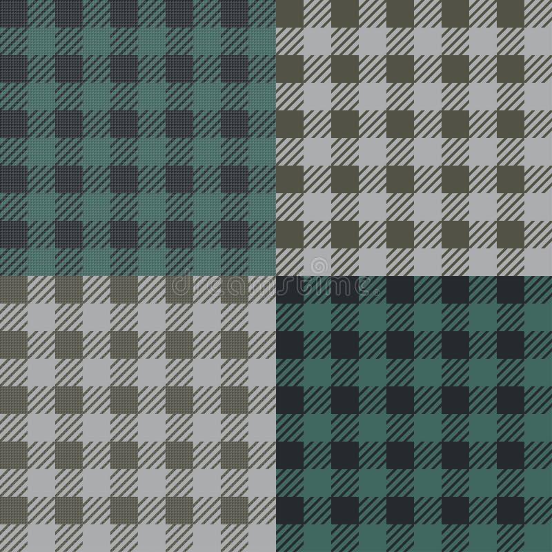 Metta di 4 modelli vichy del percalle per progettazione della coperta o della tovaglia di picnic illustrazione di stock