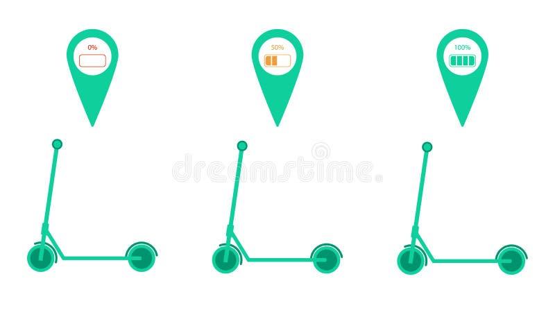 Metta di 3 motorini elettrici di scossa con il perno di posizione della mappa e l'indicatore di carica della batteria Illustrazio royalty illustrazione gratis