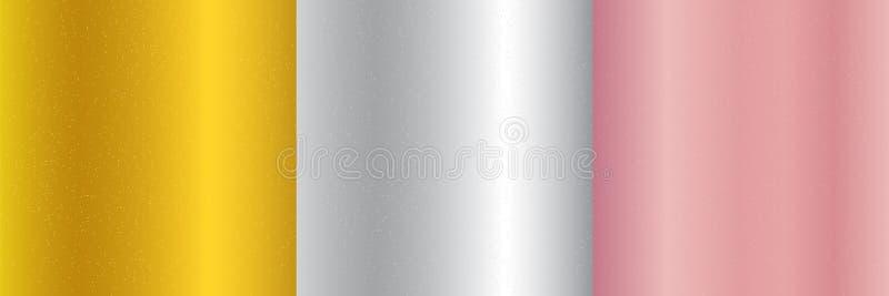 Metta di oro metallico, di oro rosa, del fondo d'argento di pendenza e della struttura di scintillio Scintilla scintillando, lo s illustrazione di stock