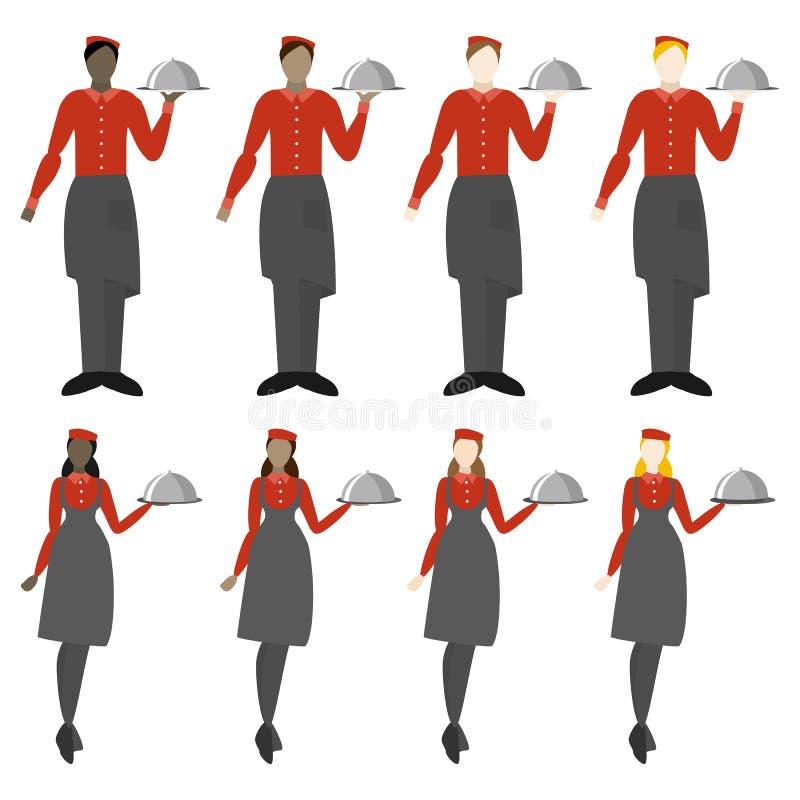 Metta di otto ragazze ed uomini dei camerieri illustrazione vettoriale