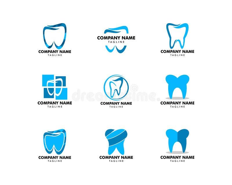 Metta di progettazione dentaria dell'icona dell'illustrazione di vettore del modello di logo illustrazione di stock