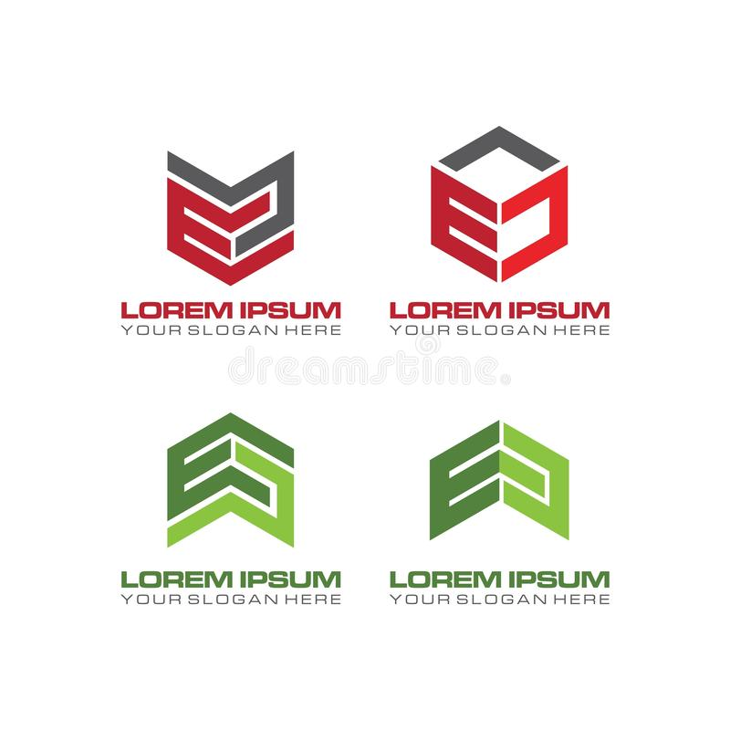 Metta di progettazione di logo della lettera della CE con l'esagono illustrazione vettoriale
