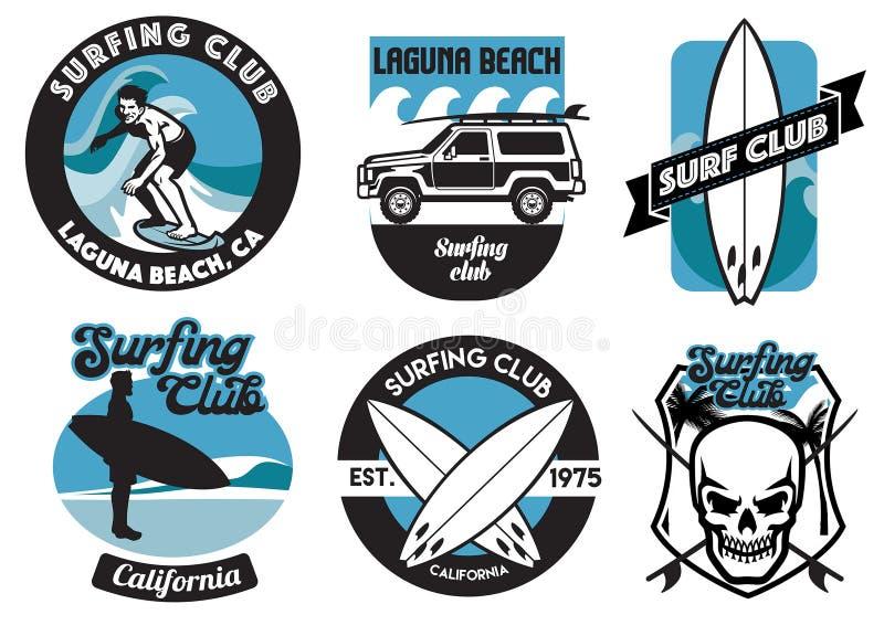 Metta di progettazione praticante il surfing del distintivo royalty illustrazione gratis
