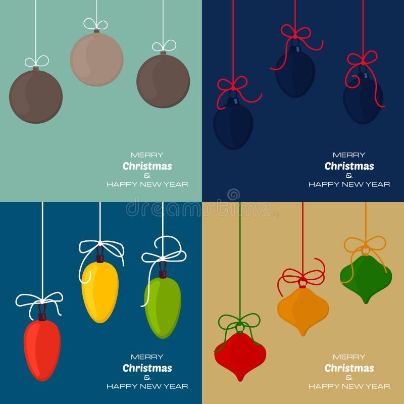 Metta di quattro ambiti di provenienza del buon anno e di Buon Natale con le palle di natale royalty illustrazione gratis