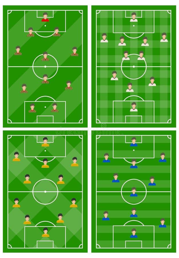 Metta di quattro campi di football americano con uno schema differente dei giocatori sul campo illustrazione vettoriale