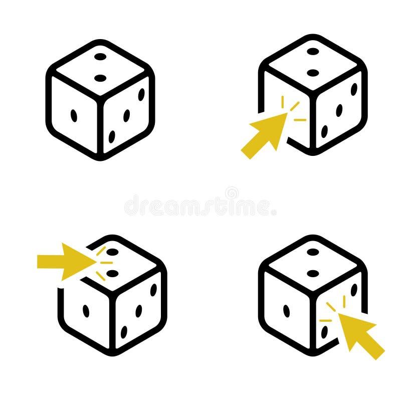 Metta di quattro dadi e delle frecce gialle illustrazione vettoriale