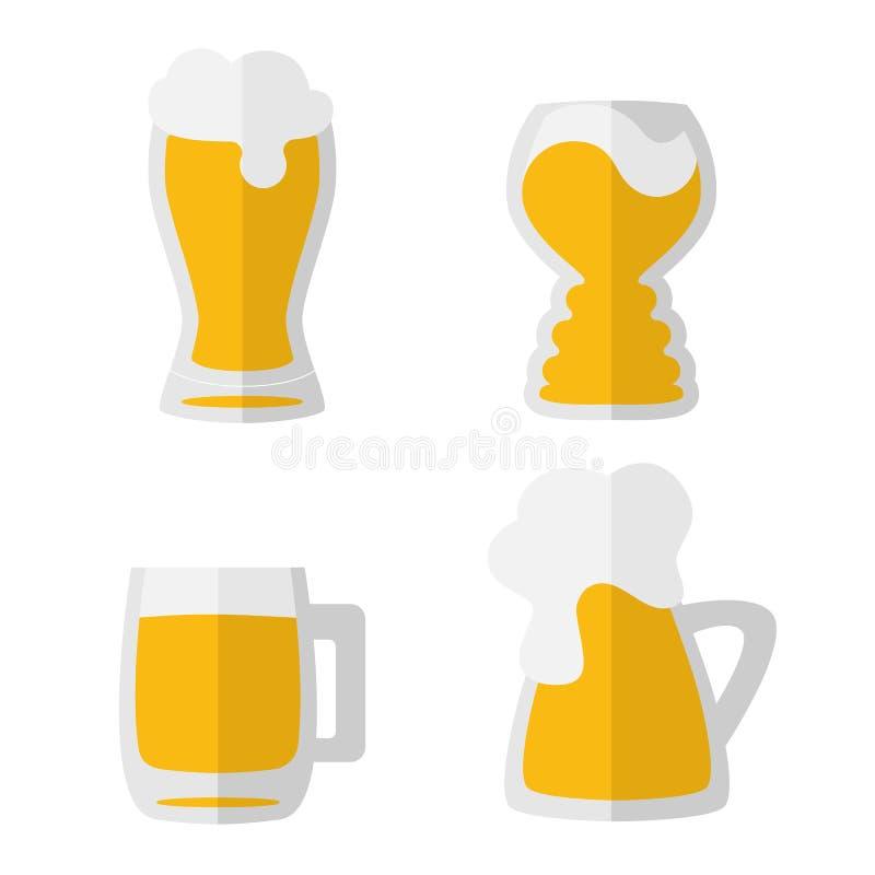 Metta di quattro icone disegnate a mano piane della tazza di birra isolate su bianco Giallo, arancia, grigia Giorno della birra,  royalty illustrazione gratis