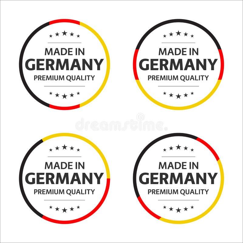 Metta di quattro icone tedesche, del titolo inglese fatto in Germania, degli autoadesivi premio di qualità e dei simboli illustrazione di stock