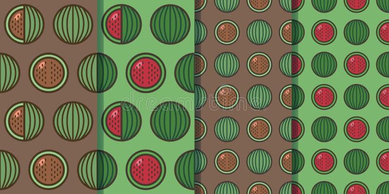 Metta di quattro modelli senza cuciture con le angurie in uno stile Illustrazione variopinta, eps10 fotografie stock libere da diritti
