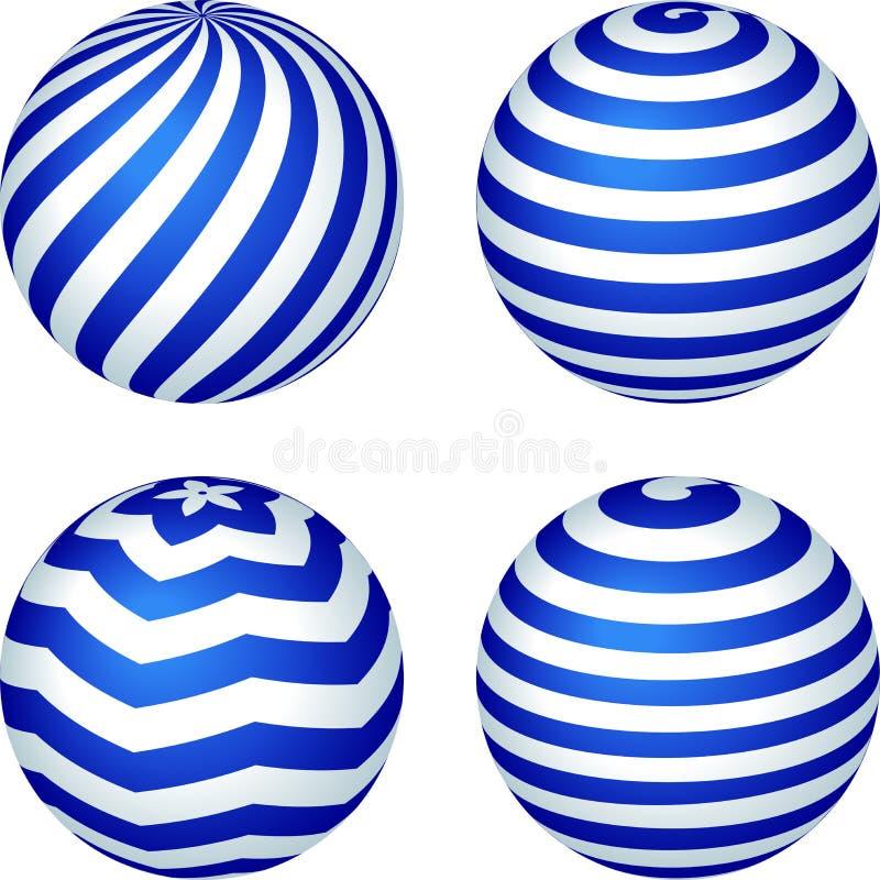 Metta di quattro palle spogliate in blu e tre dimensioni illustrazione vettoriale