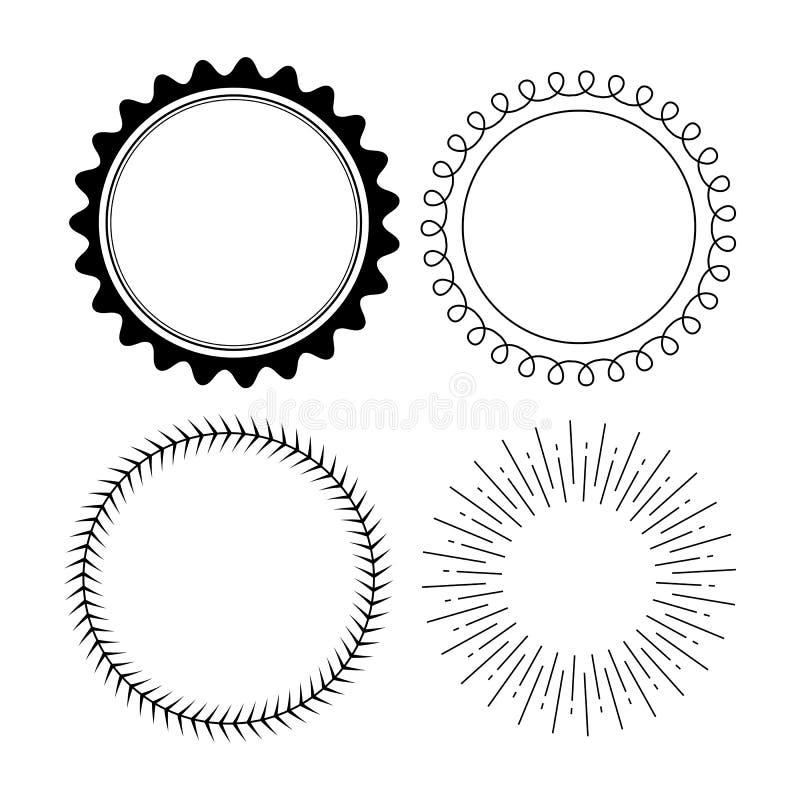 Metta di quattro retro progettazioni nere del distintivo isolate su fondo bianco illustrazione di stock