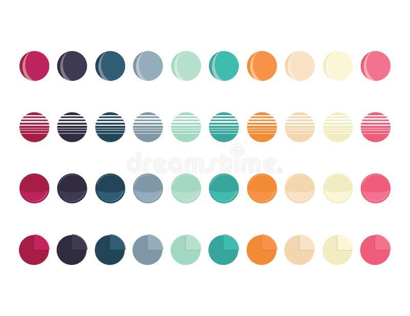 Metta di retro colore intorno ai bottoni di web, forme del cerchio illustrazione vettoriale