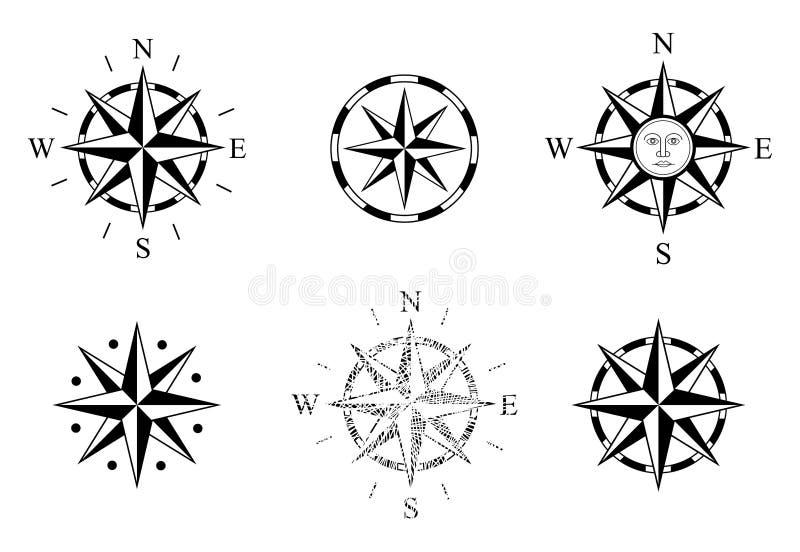 Metta di Rosa dei venti Usato sulle mappe e sui grafici nautici Bussola Rose Logo Il vento di vettore si ? levato Compassrose Nav illustrazione di stock