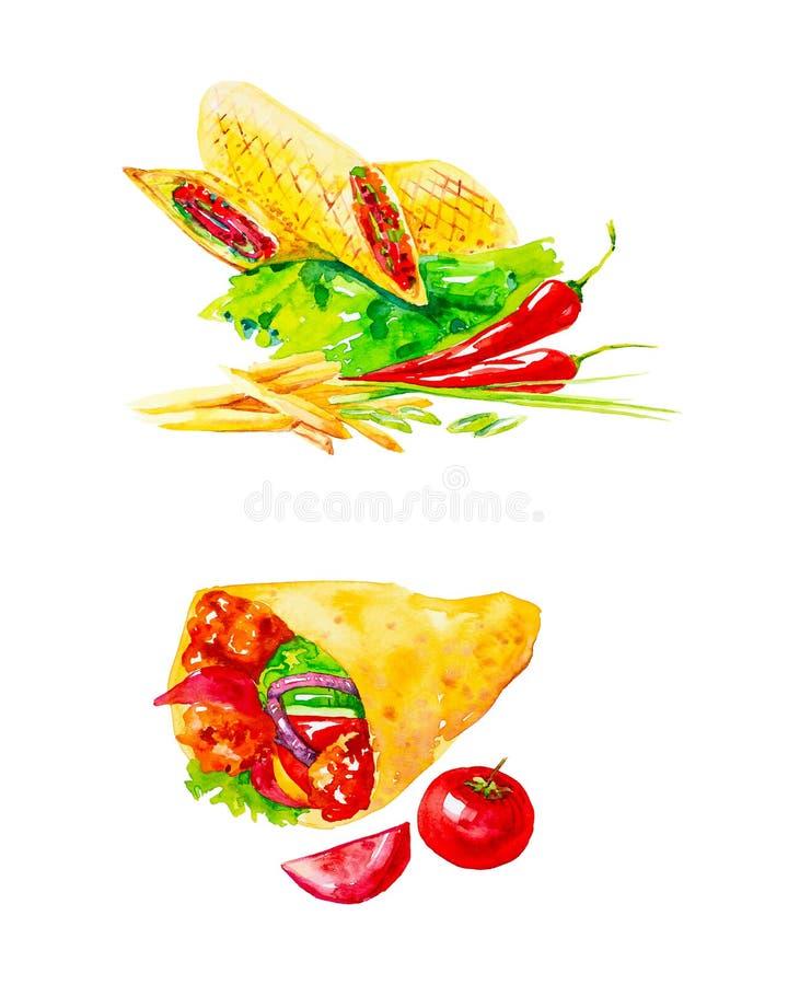 Metta di Shawarma fresco delizioso con le erbe, i peperoncini, le patate fritte, i pomodori ed il ketchup Illustrazioni dell'acqu royalty illustrazione gratis