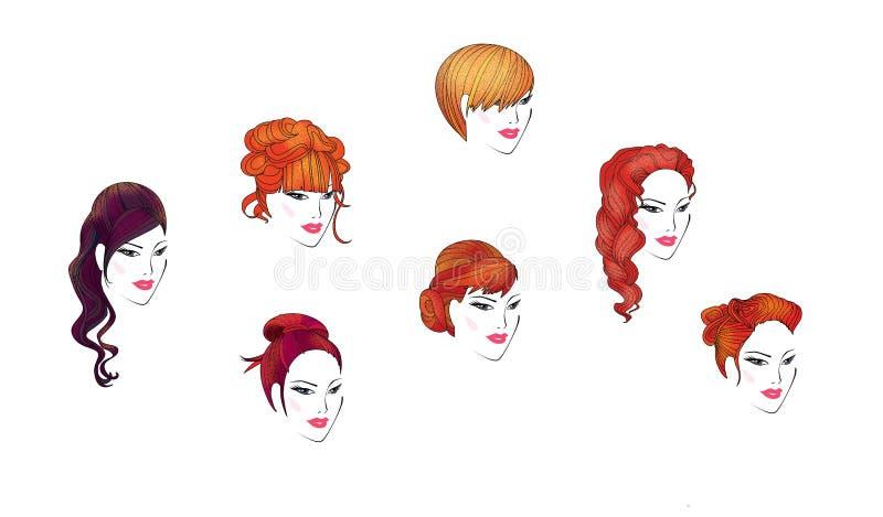 Metta di 7 siluette delle acconciature eleganti festive delle donne segno Illustrazione del quadro televisivo illustrazione di stock