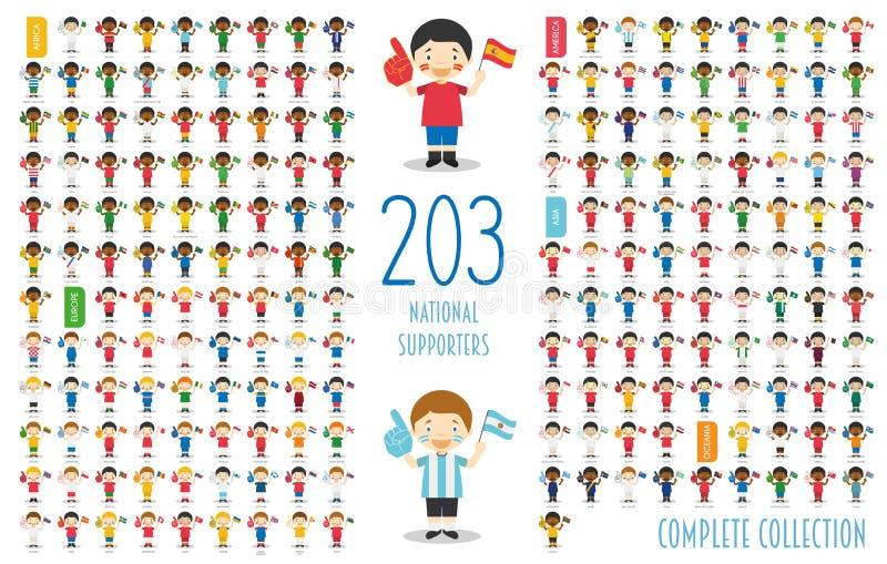 Metta di 203 sostenitori nazionali dello sport di squadra da ogni parte dell'illustrazione di vettore del mondo royalty illustrazione gratis