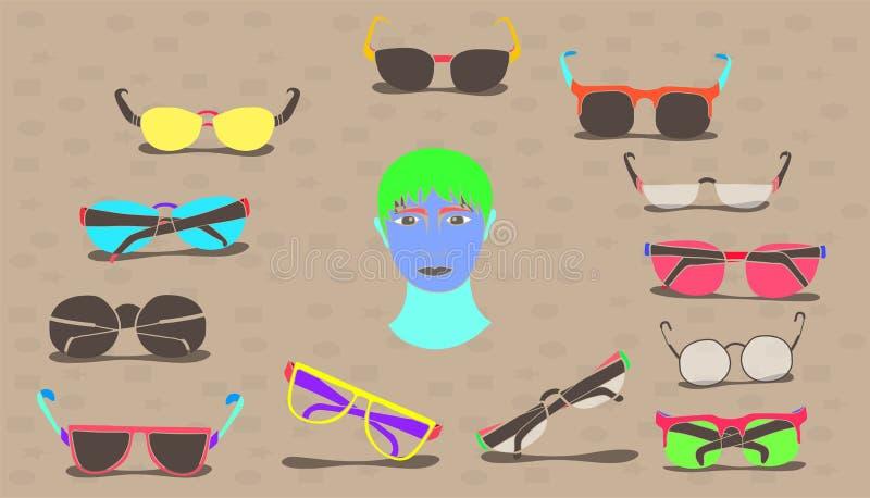 Metta di stile d'annata di disegno variopinto minimo di progettazione degli occhiali da sole Illustrazione EPS10 di vettore illustrazione vettoriale