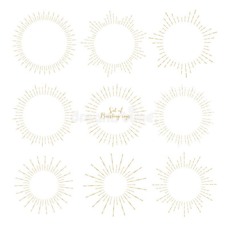 Metta di stile dorato dello sprazzo di sole isolato su fondo bianco, scoppiante il vettore dei raggi illustrazione di stock