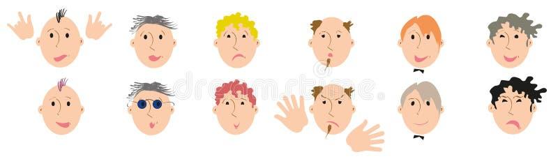 Metta di 12 tipi differenti di fronti, di capelli, di barbe e di emozioni maschii royalty illustrazione gratis