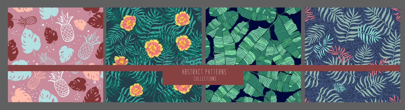 Metta di tre ambiti di provenienza tropicali con le foglie di palma Reticoli floreali senza giunte Illustrazioni di vettore di es illustrazione vettoriale