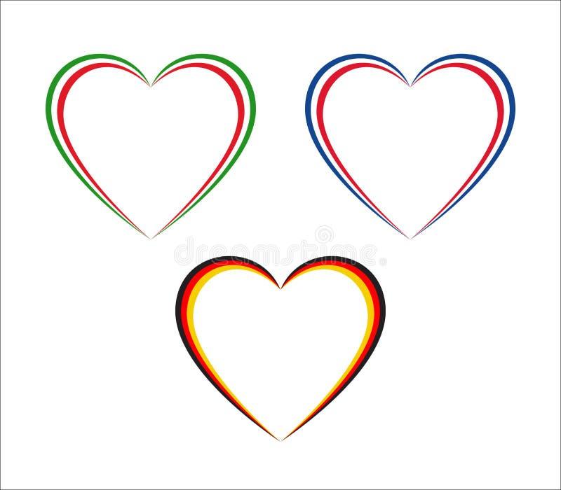 Metta di tre cuori nei colori italiani, francesi e tedeschi royalty illustrazione gratis