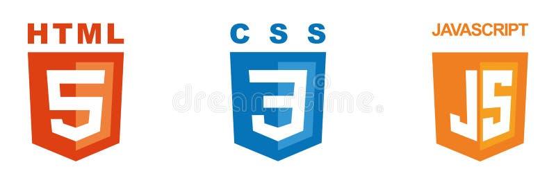 Metta di tre icone - il HTML, il CSS, Javascript illustrazione di stock