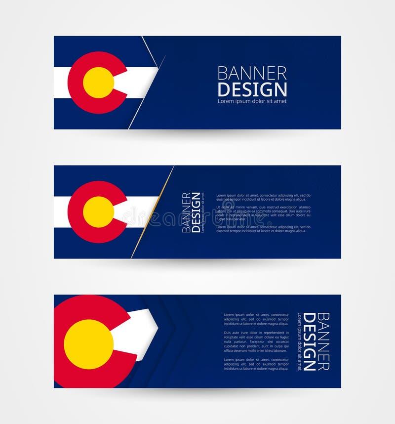 Metta di tre insegne orizzontali con la bandiera dello stato USA di Colorado Modello di progettazione dell'insegna di web a color illustrazione di stock
