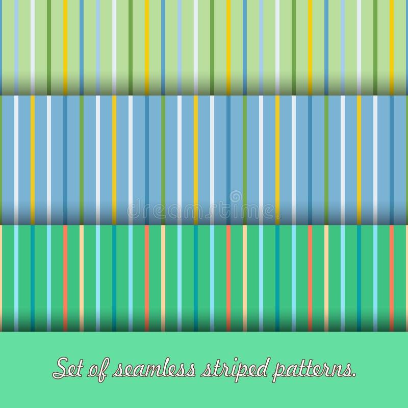 Metta di tre modelli senza cuciture multicolori delle bande I colori primari sono verdi, blu e gialli royalty illustrazione gratis