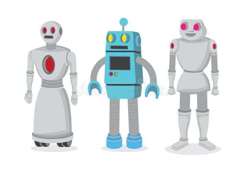Metta di tre robot di vettore nello stile del fumetto Tecnologia industriale moderna Robot isolati di vettore illustrazione vettoriale