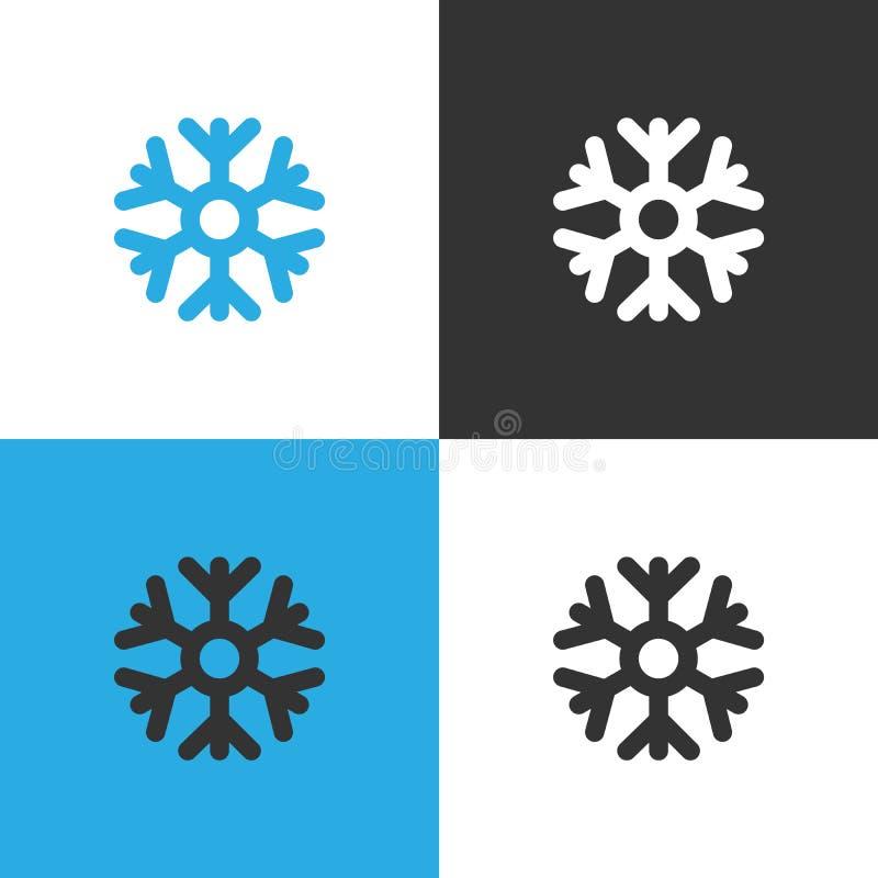 Metta di un'icona di quattro fiocchi di neve su fondo differente illustrazione vettoriale