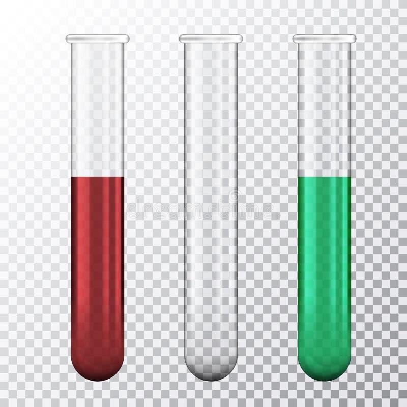 Metta di un'illustrazione realistica della provetta tre con liquido rosso sangue o verde, isolata su fondo trasparente, vettore royalty illustrazione gratis