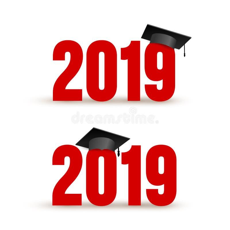 Metta di una classe di 2019 con il cappuccio di graduazione Illustrazione di vettore Isolato su priorità bassa bianca illustrazione di stock