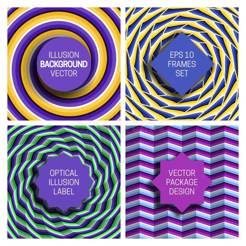 Metta di vari telai sugli ambiti di provenienza dell'illusione ottica Modelli d'avanguardia delle etichette per progettazione di  illustrazione vettoriale