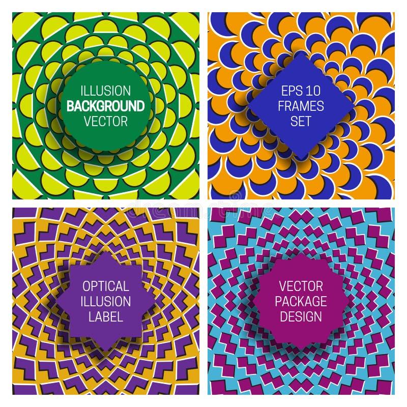 Metta di vari telai sugli ambiti di provenienza dell'illusione ottica Modelli d'avanguardia delle etichette per progettazione di  illustrazione di stock