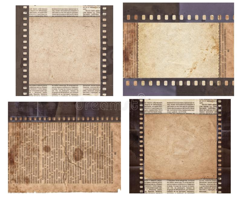 Metta di vario vecchio fondo d'annata con il retro giornale e vecchia la striscia di pellicola isolati immagini stock libere da diritti
