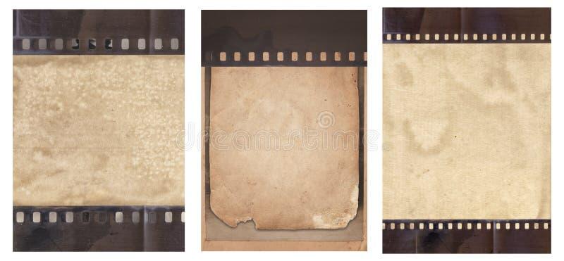 Metta di vario vecchio fondo d'annata con retro carta e vecchia la striscia di pellicola isolate fotografia stock