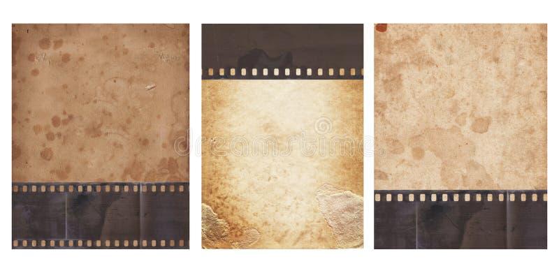 Metta di vario vecchio fondo d'annata con retro carta e vecchia la striscia di pellicola isolate immagini stock