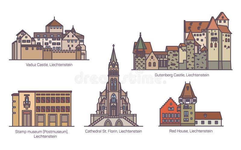 Metta di vecchia architettura del Liechtenstein nella linea sottile illustrazione di stock