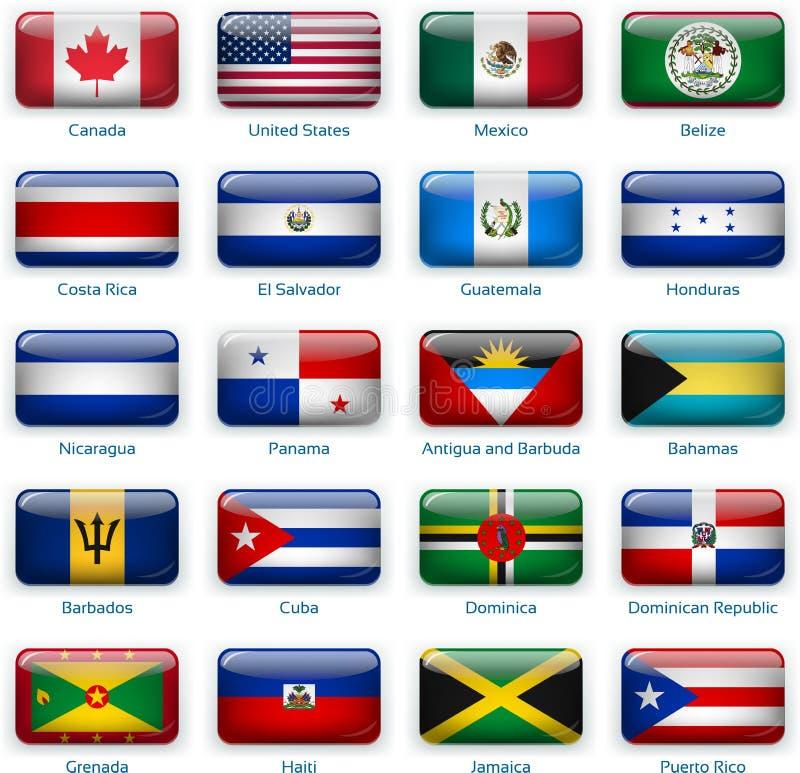 Metta di venti bandiere nello stile del bottone L'America una di due illustrazione di stock