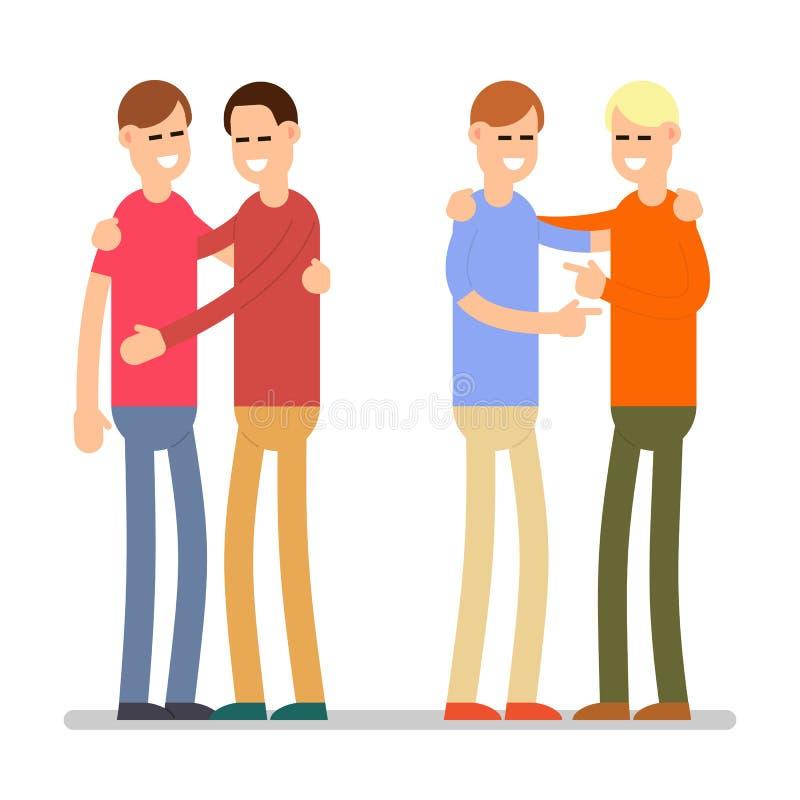 Metta felice della gente isolato Giovani condizione ed abbracciare felici dell'uomo illustrazione vettoriale